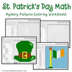 St. Patrick's Day Addition Mystery Pictures Coloring Worksheets