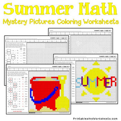 Summer Addition Mystery Pictures Coloring Worksheets
