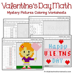 Valentine's Day Addition Mystery Pictures Coloring Worksheets