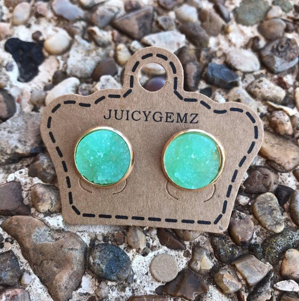12mm Mint Green Drusy Rounds - Juicy Gemz