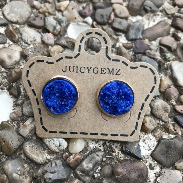 12mm Glamour Royal Blue Drusy - Juicy Gemz