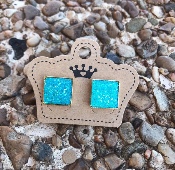 12mm Aqua Drusy Squares - Juicy Gemz