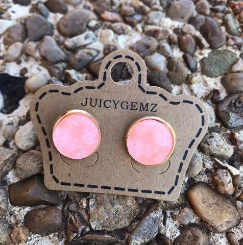 12mm Peach Drusy Rounds - Juicy Gemz