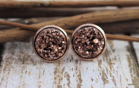 Rose Gold Drusy Studs - Juicy Gemz