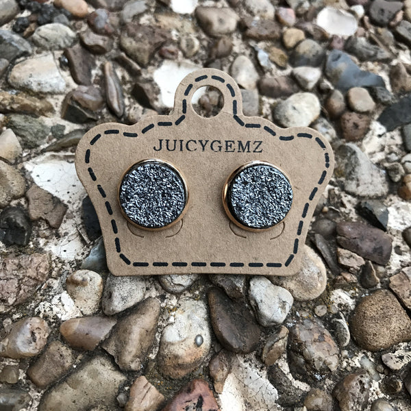 12mm Glamour Gray Drusys - Juicy Gemz