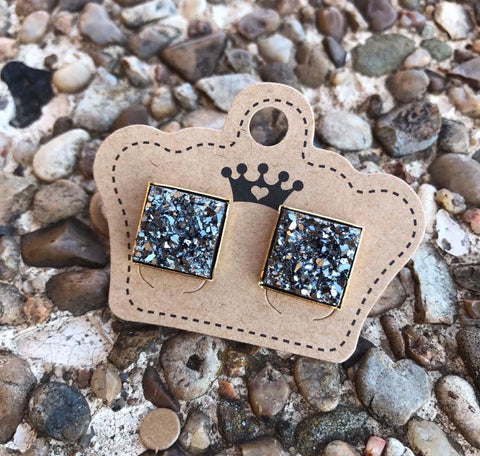 12mm Charcoal Drusy Squares - Juicy Gemz