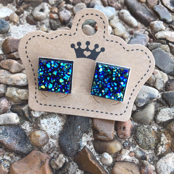 12mm Blue Drusy Square Earrings - Juicy Gemz