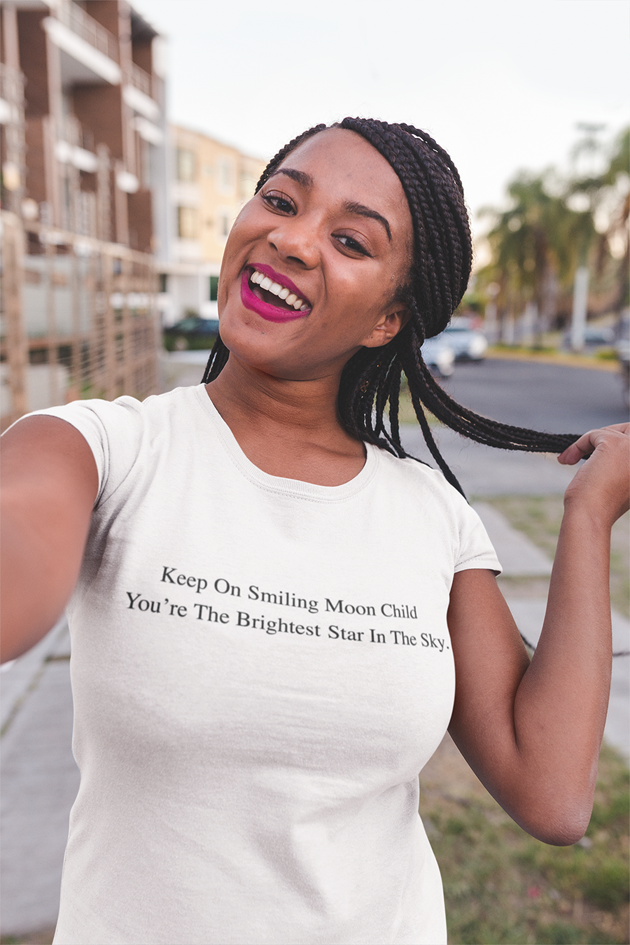 Keep On Smiling Moon Child You're The Brightest Star in the Sky T-shirt - Urbantshirts.co.uk