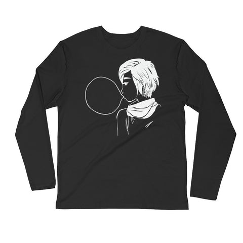 Bubblegum Girl - Long Sleeve Fitted Crew - DrawnByB