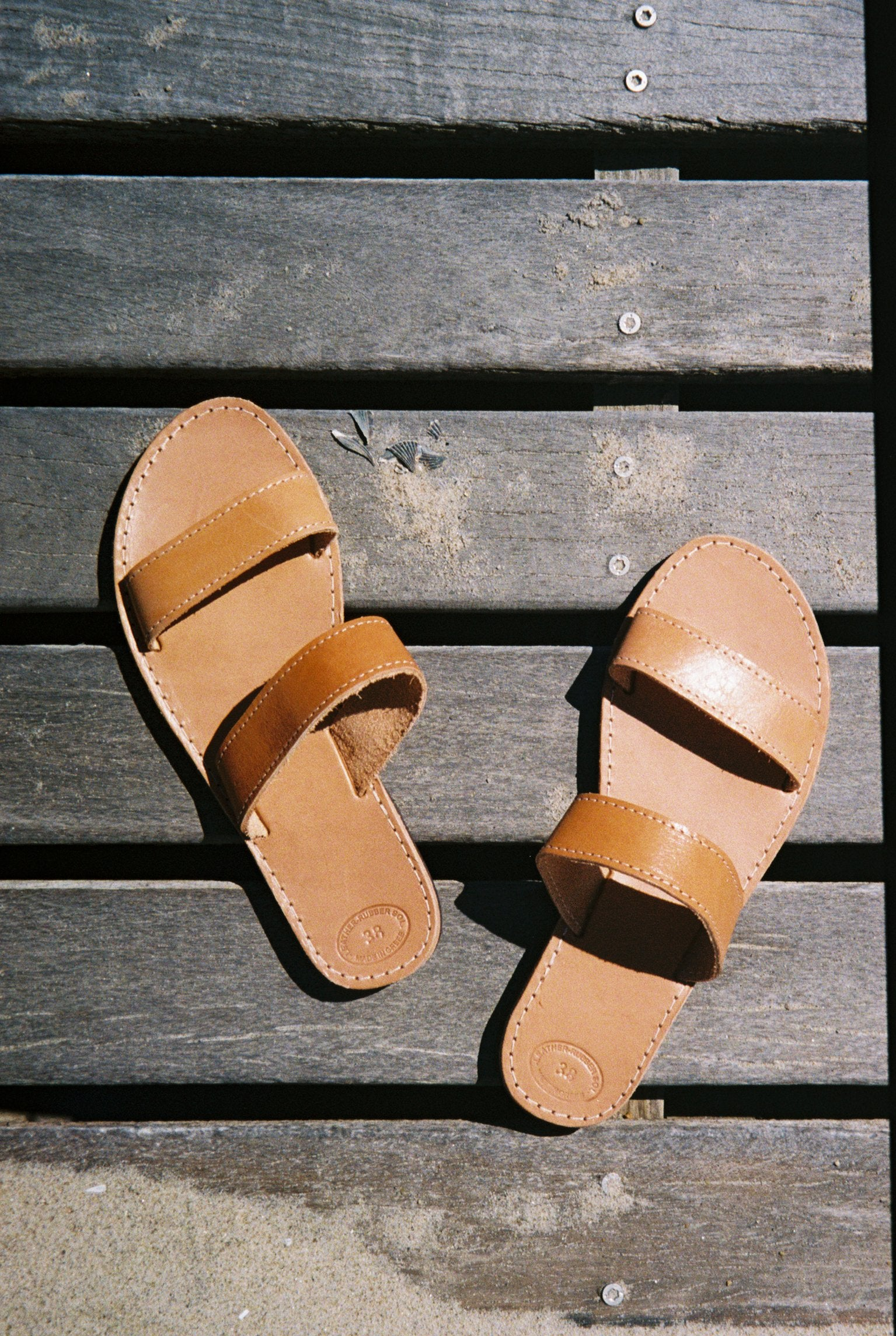 Grecian Leather Double Strap Sandal