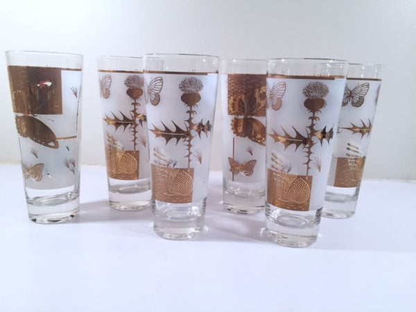 Fred Press - Mid-Century Frosted 22-Karat Gold Butterfly Tall Collins Glasses (Set 6)