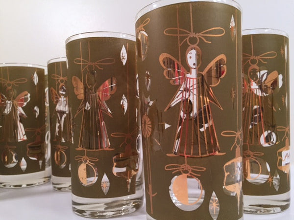 Fred Press - Signed Mid-Century Green & 22-Karat Gold Christmas Angel Glasses (Set of 7)