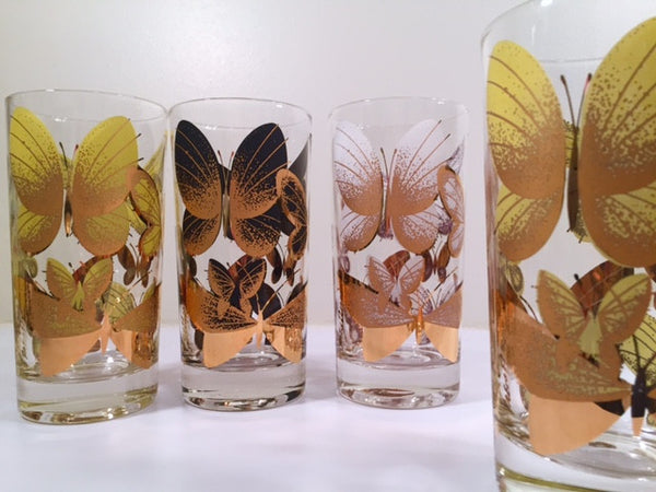 Fred Press Signed Mid-Century Butterfly Glasses (Set of 4)