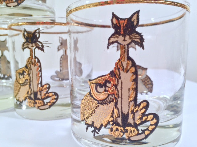Culver Signed Mid-Century Pussy Cat and Owl Glasses (Set of 7)