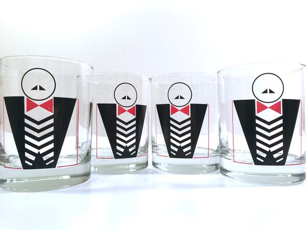 Vintage Retro Putting On The Ritz Double Old Fashion Glasses (Set of 4)