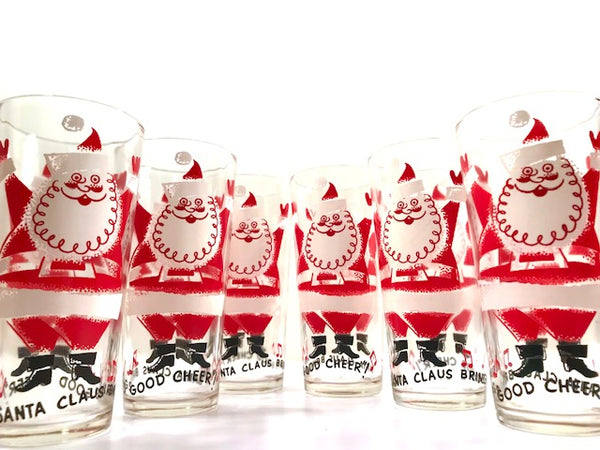 Vintage Santa Claus Brings Good Cheer Glasses (Set of 6)