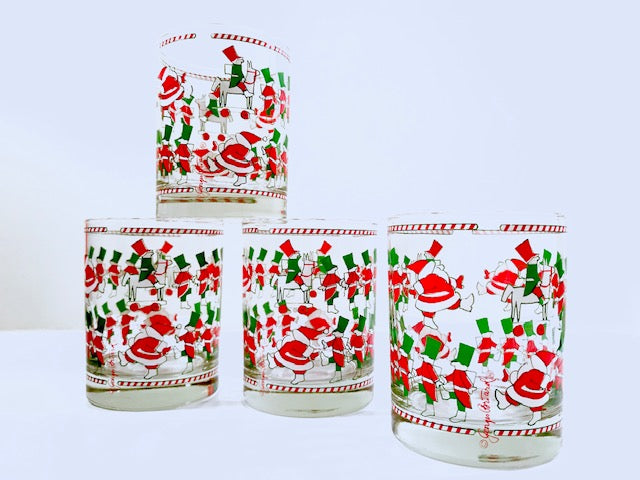Georges Briard Signed Mid-Century Santa and Soldier Double Old Fashion Glasses (Set of 4)