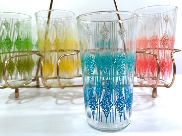 Anchor Hocking Mid-Century Rainbow Diamond Band Glasses With Carrier (Set of 8)