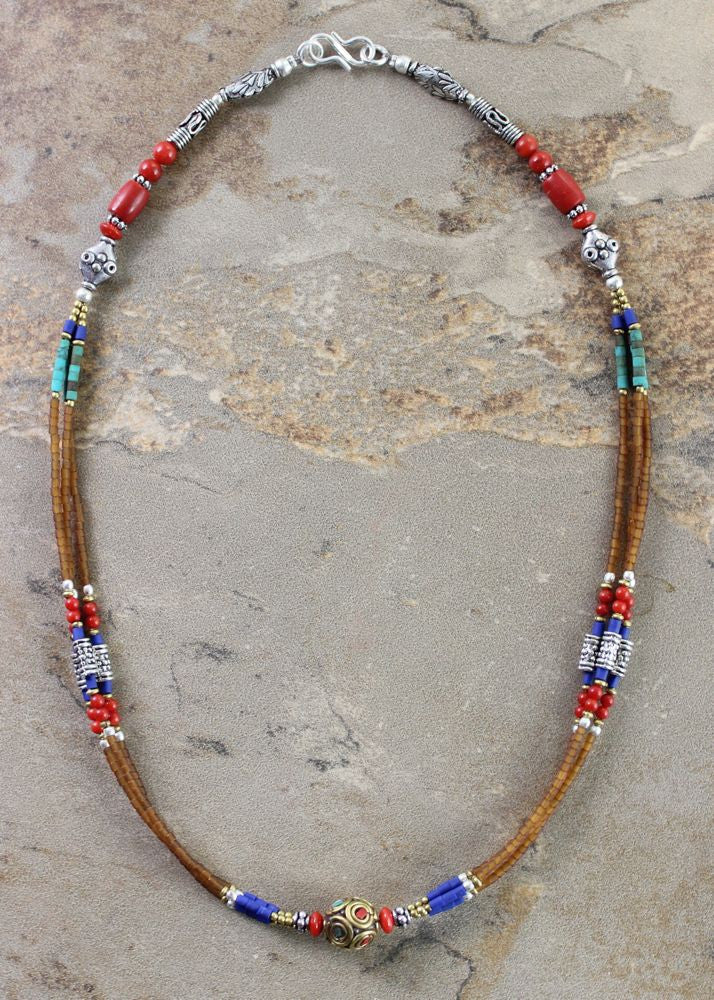 Lapis Coral and Turquoise Necklace