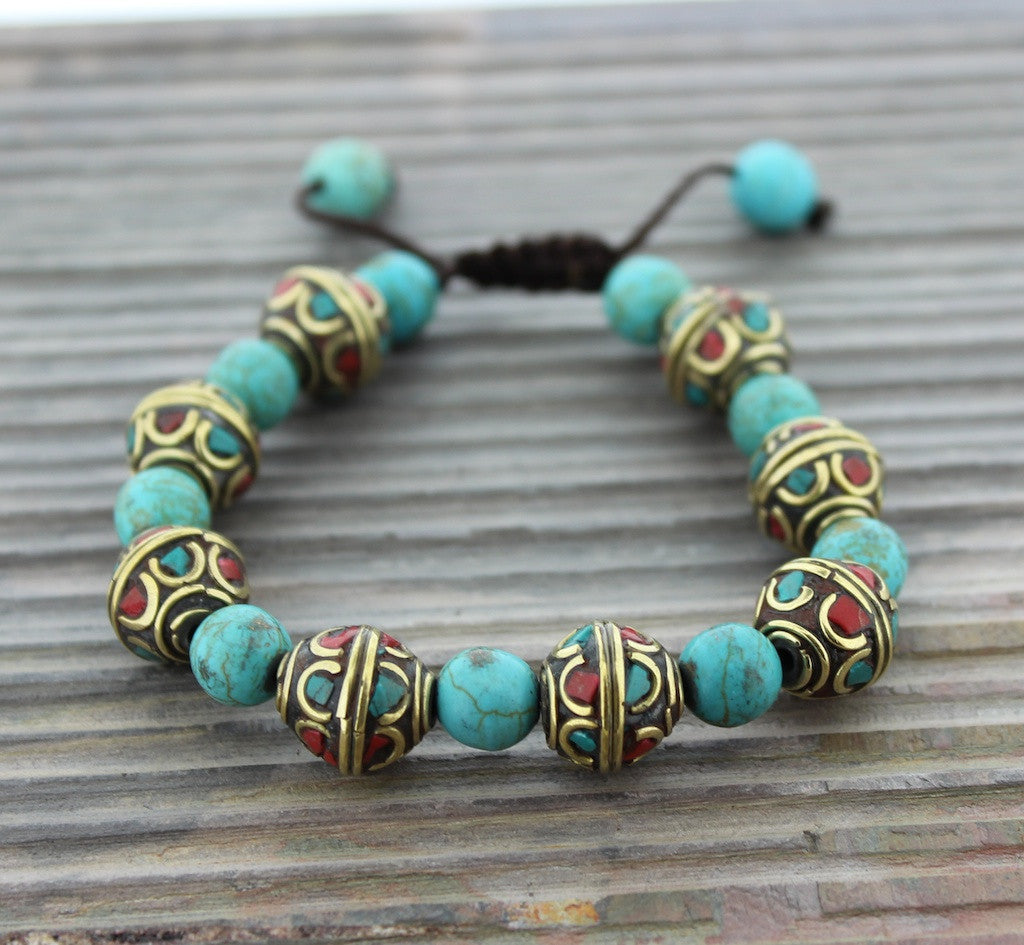 Tibetan Traditional Turquoise and Coral Bead Bracelet