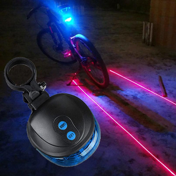 Bicycle Light with Blue Tail LED & Red Laser Lights