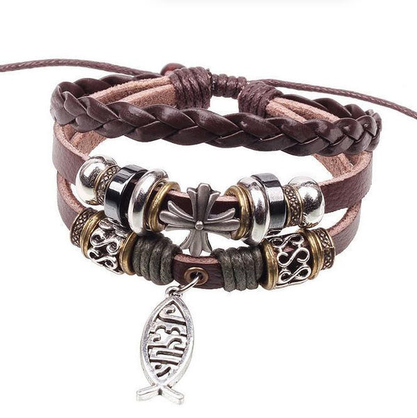 3 Band Leather Bracelet with ICHTUS Jesus Charm
