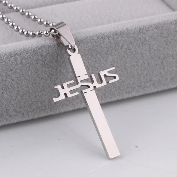 Stainless Steel JESUS Cross Pendant Necklace