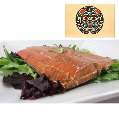 8 oz Natural Smoked Salmon in Traditional Bear Design Wood Box