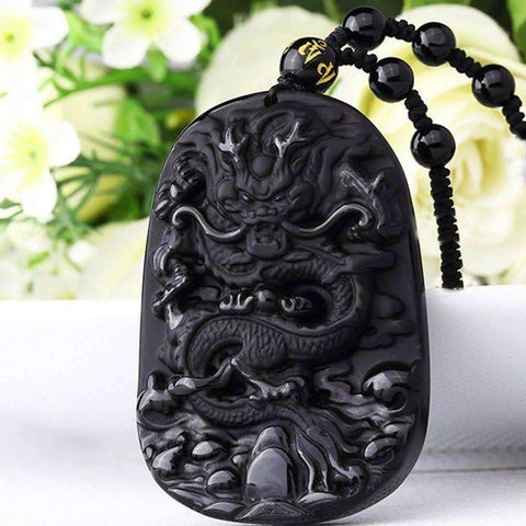 Image of Natural Black Obsidian Dragon Pendant