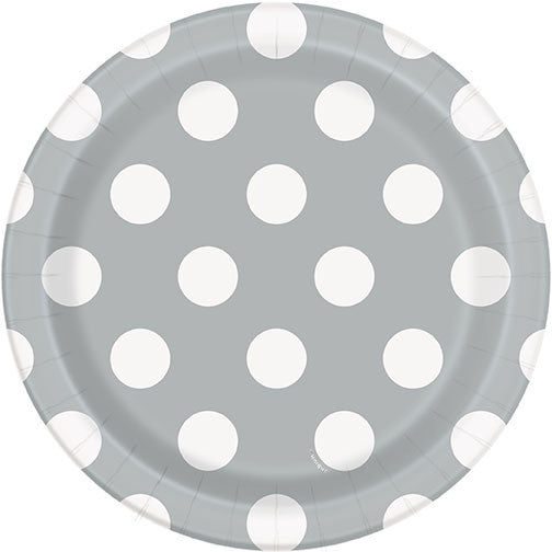 "8 Silver Dot 7"" Plate from Pop Cloud Bristol who offer a huge range of partyware, wedding and event hire decorations"