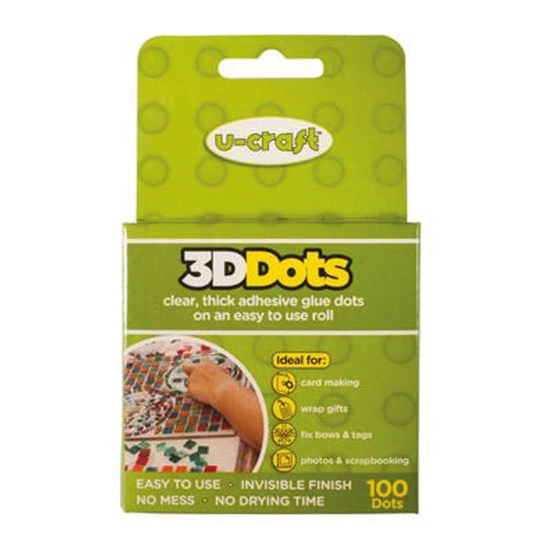 3D Dots  - 100 x Thick, Permanent Glue Dots on a roll