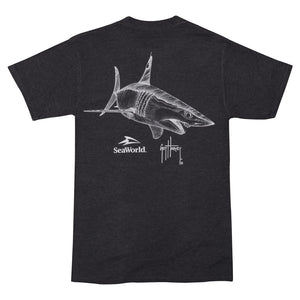 SeaWorld and Guy Harvey Exclusive Mako Stat Charcoal Heather Grey Adult Pocket Tee