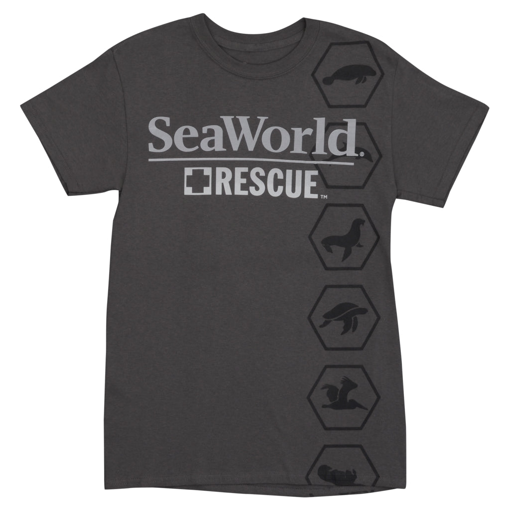 SeaWorld Rescue Charcoal Adult Tee