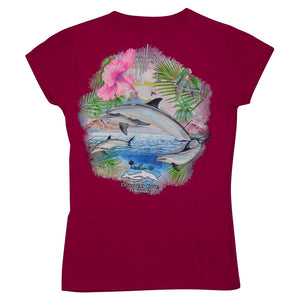 Discovery Cove and Guy Harvey Exclusive Raspberry Women's Dolphin Tee