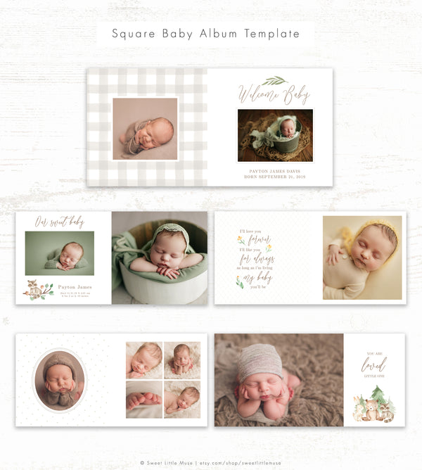 Gender Nuetral Album Template - Baby Photo Book Template