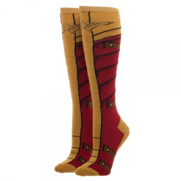 Wonder Woman Knee High Socks With Gold Lurex Yarn - SuperheroWatches.com