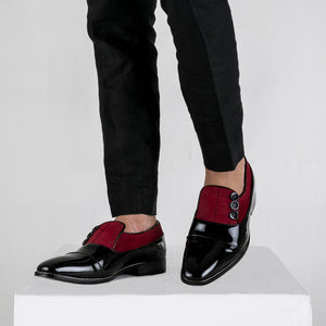 Ashley Button Shoe - Black/Red