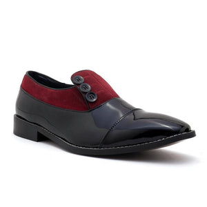Shoes - Ashley Button Shoe - Black/Red