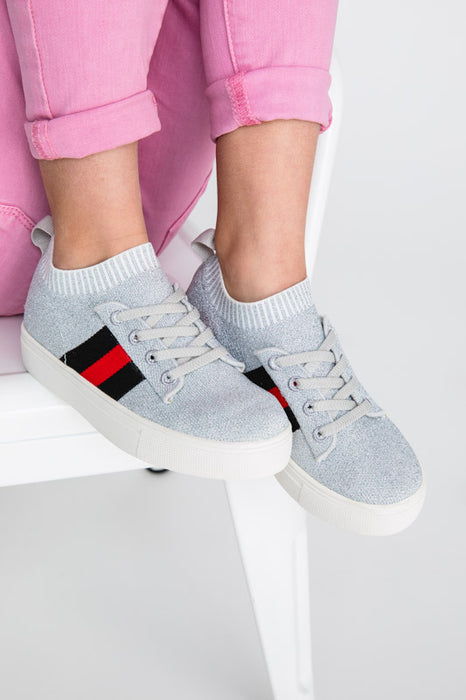 Kai Strip Knit Sock Sneaker - Silver