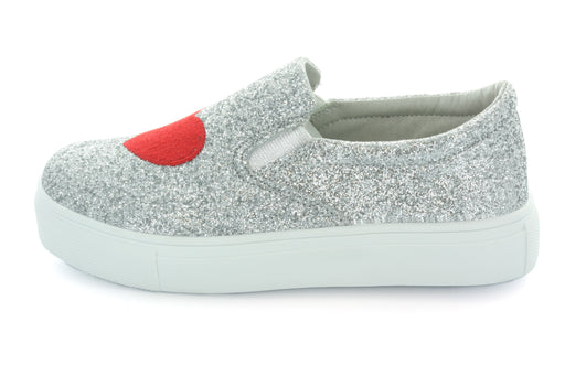 Ruby Heart & Lips Slip On Sneaker - Silver Glitter