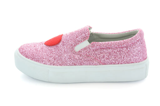 Ruby Heart & Lips Slip On Sneaker - Pink Glitter