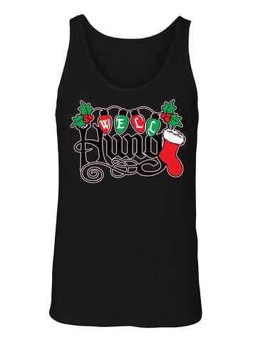 Manateez Men's Ugly Christmas Sweater Well Hung Mistletoe Tank Top