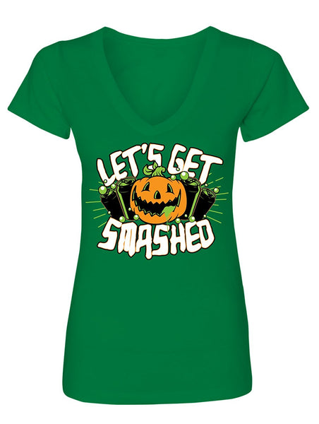 Manateez Women's Halloween Party Pumpkin Jack-O-Lantern Let's Get Smashed V-Neck