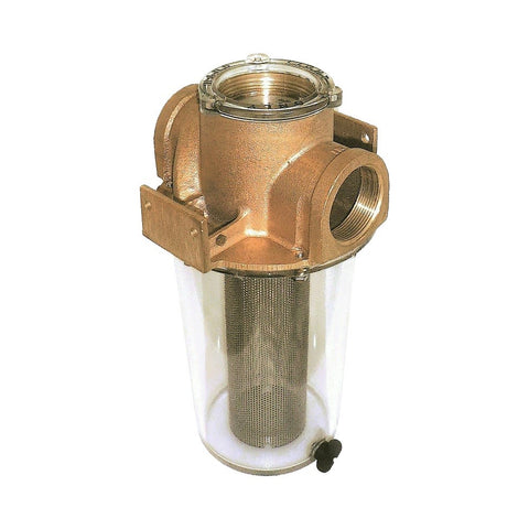 Groco ARG Series Bronze Raw Water Strainer with Clear Sight Glass - BSPP