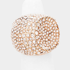 ".80"" crystal pave dish stretch ring bridal prom"