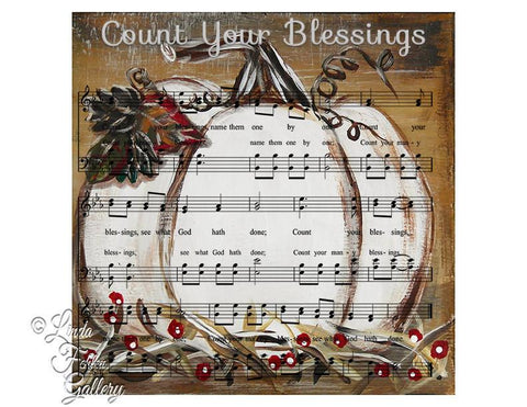 """Count Your Blessings"" White Pumpkin Fall Art Print - Linda Fehlen Gallery"