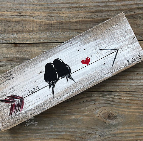 Birds on an arrow - Farmhouse Style Love Birds Painting on Rustic Wood - Linda Fehlen Gallery