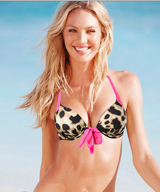 Pink Leopard Halter Push Up Bikini Top - Twisted Glow