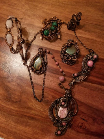 Antiqued Copper Wire Wrapped Jewelry
