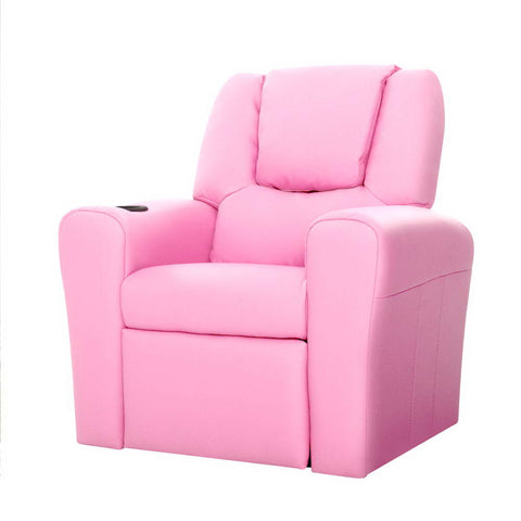 Kids Leather Recliner Chair - Pink